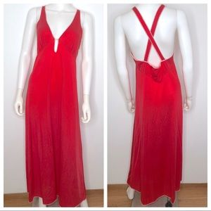 Vintage Vanity Fair Long Red Nightgown Small